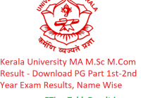 Kerala University MA M.Sc M.Com Result 2020 - Download PG Part 1st-2nd Year Exam Results, Name Wise