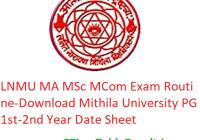 LNMU MA M.Sc M.Com Exam Routine 2020 - Download Mithila University PG Part 1st-2nd Year Date Sheet, Exam Dates