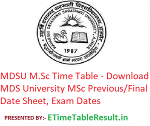 MDSU M.Sc Time Table 2020 - Download MDS University Ajmer MSc Previous/Final Date Sheet, Exam Dates