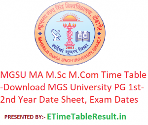 MGSU MA M.Sc M.Com Time Table 2020 - Download MGS University PG Part 1st-2nd Year Date Sheet, Exam Dates