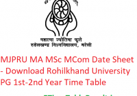 MJPRU MA M.Sc M.Com Date Sheet 2020 - Download Rohilkhand University PG Part 1st-2nd Year Time Table, Exam Dates