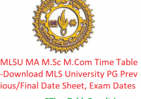 MLSU MA M.Sc M.Com Time Table 2020 - Download MLS University PG Previous/Final Date Sheet, Exam Dates
