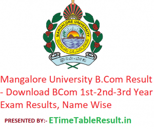 Mangalore University B.Com Result 2020 - Download BCom 1st-2nd-3rd Year Exam Results, Name Wise