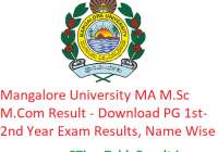 Mangalore University MA M.Sc M.Com Result 2020 - Download PG 1st-2nd Year Exam Results, Name Wise