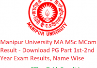 Manipur University MA M.Sc M.Com Result 2020 - Download PG Part 1st-2nd Year Exam Results, Name Wise