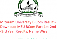 Mizoram University B.Com Result 2020 - Download MZU BCom Part 1st-2nd-3rd Year Exam Results, Name Wise