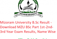 Mizoram University B.Sc Result 2020 - Download MZU BSc Part 1st-2nd-3rd Year Exam Results, Name Wise