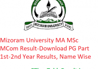 Mizoram University MA M.Sc M.Com Result 2020 - Download MZU PG Part 1st-2nd Year Exam Results, Name Wise