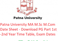 Patna University MA M.Sc M.Com Date Sheet 2020 - Download PG Part 1st-2nd Year Time Table, Exam Dates