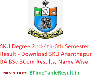 SKU Degree 2nd-4th-6th Semester Result 2020 - Download SKU Ananthapur BA BSc BCom Exam Results, Name Wise