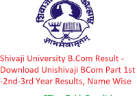 Shivaji University B.Com Result 2020 - Download Unishivaji BCom Part 1st-2nd-3rd Year Exam Results, Name Wise