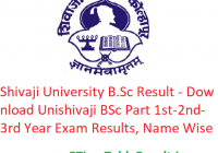 Shivaji University B.Sc Result 2020 - Download Unishivaji BSc Part 1st-2nd-3rd Year Exam Results, Name Wise