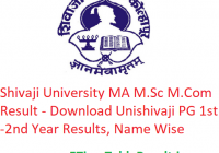Shivaji University MA M.Sc M.Com Result 2020 - Download Unishivaji PG Part 1st-2nd Year Exam Results, Name Wise