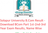Solapur University B.Com Result 2020 - Download BCom Part 1st-2nd-3rd Year Exam Results, Name Wise