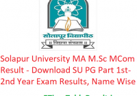 Solapur University MA M.Sc M.Com Result 2020 - Download SU Digital University PG Part 1st-2nd Year Exam Results, Name Wise