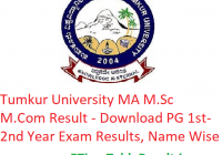 Tumkur University MA M.Sc M.Com Result 2020 - Download PG Part 1st-2nd Year Exam Results, Name Wise