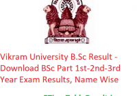 Vikram University B.Sc Result 2020 - Download BSc Part 1st-2nd-3rd Year Exam Results, Name Wise
