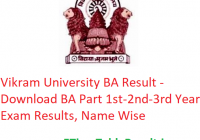 Vikram University BA Result 2020 - Download BA Part 1st-2nd-3rd Year Exam Results, Name Wise