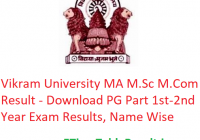Vikram University MA M.Sc M.Com Result 2020 - Download PG Part 1st-2nd Year Exam Results, Name Wise
