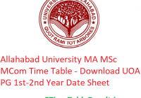 Allahabad University MA M.Sc M.Com Time Table 2020 - Download UOA PG 1st-2nd Year Date Sheet, Exam Dates