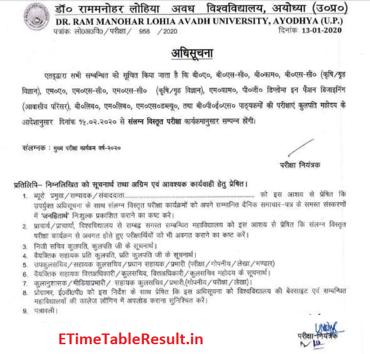 Avadh University Time Table 2020 Download Online