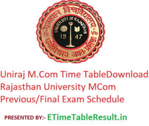 Uniraj M.Com Time Table 2020 - Download Rajasthan University MCom Previous/Final Exam Schedule
