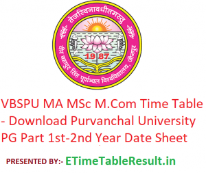 VBSPU MA M.Sc M.Com Time Table 2020 - Download Purvanchal University PG Part 1st-2nd Year Date Sheet, Exam Dates