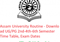 Assam University Routine 2020 - Download UG/PG 2nd-4th-6th Semester Time Table, Exam Dates