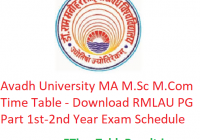 Avadh University MA M.Sc M.Com Time Table 2020 - Download RMLAU PG Part 1st-2nd Year Exam Schedule