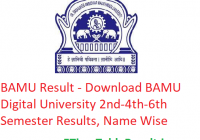 BAMU Result 2020 - Download BAMU Digital University 2nd-4th-6th Semester Results, Name Wise