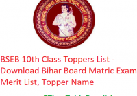 BSEB 10th Class Toppers List 2020 - Download Bihar Board Matric Exam Merit List, Topper Name