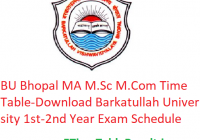 BU Bhopal MA M.Sc M.Com Time Table 2020 - Download Barkatullah University PG 1st-2nd Year Exam Schedule