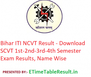 Bihar ITI NCVT Result 2020 - Download SCVT 1st-2nd-3rd-4th Semester Exam Results, Name Wise