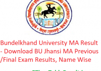 Bundelkhand University MA Result 2020 - Download BU Jhansi MA Previous/Final Exam Results, Name Wise