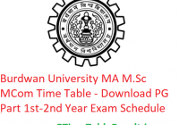 Burdwan University MA M.Sc M.Com Time Table 2020 - Download PG Part 1st-2nd Year Exam Schedule