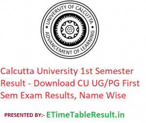 Calcutta University 1st Semester Result 2020 - Download CU UG/PG First Sem Exam Results, Name Wise