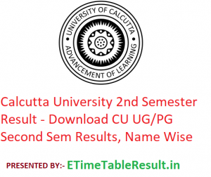 Calcutta University 2nd Semester Result 2020 - Download CU UG/PG Second Sem Exam Results, Name Wise