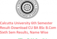 Calcutta University 6th Semester Result 2020 - Download CU BA B.Sc B.Com Sixth Sem Exam Results, Name Wise