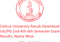 Calicut University Result 2020 - Download UG/PG 2nd-4th-6th Semester Exam Results, Name Wise