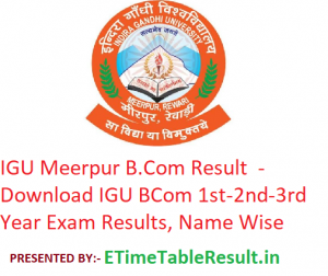 IGU Meerpur B.Com Result 2020 - Download IGU BCom 1st-2nd-3rd Year Exam Results, Name Wise