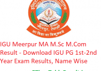 IGU Meerpur MA M.Sc M.Com Result 2020 - Download IGU PG 1st-2nd Year Exam Results, Name Wise