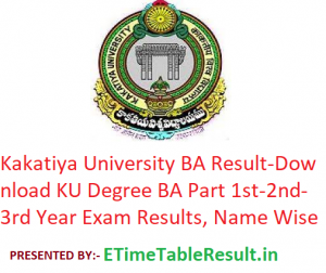 Kakatiya University BA Result 2020 - Download KU Degree BA Part 1st-2nd-3rd Year Exam Results, Name Wise