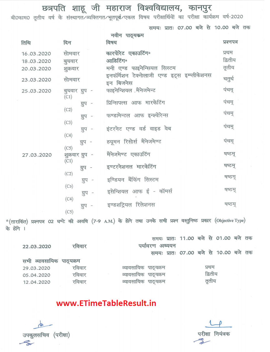 Kanpur University B.Com Final Year Time Table 2020 Download Online