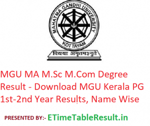 MGU MA M.Sc M.Com Degree Result 2020 - Download MGU Kerala PG Part 1st-2nd Year Exam Results, Name Wise