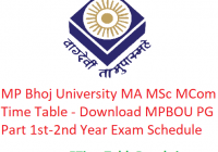 MP Bhoj University MA M.Sc M.Com Time Table 2020 - Download MPBOU PG Part 1st-2nd Year Exam Schedule