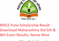 MSCE Pune Scholarship Result 2020 - Download Maharashtra Std 5th & 8th Exam Results, Name Wise