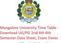 Mangalore University Time Table 2020 - Download UG/PG 2nd 4th 6th Semester Date Sheet, Exam Dates