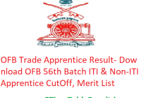 OFB Trade Apprentice Result 2020 - Download OFB 56th Batch ITI & Non-ITI Apprentice Cut Off Marks, Merit List