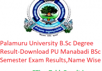 Palamuru University B.Sc Degree Result 2020 - Download PU Manabadi BSc 1st-2nd-3rd Year Exam Results, Name Wise
