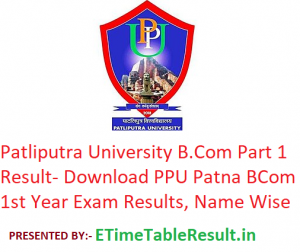 Patliputra University B.Com Part 1 Result 2020 - Download PPU Patna BCom 1st Year Exam Results, Name Wise